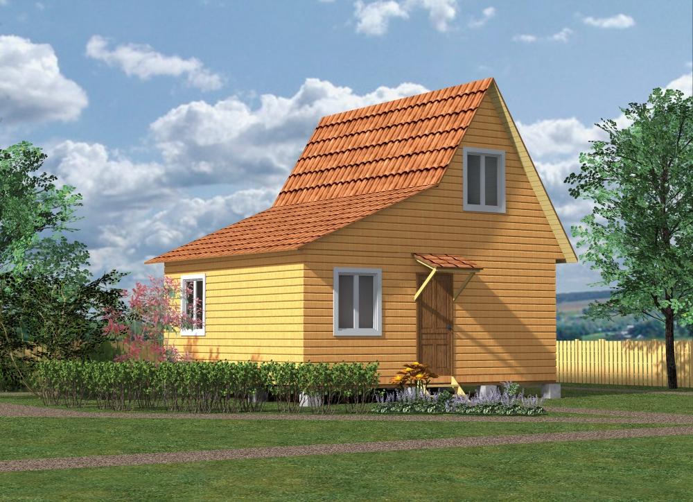 Дом с мансардой и верандой 6х6