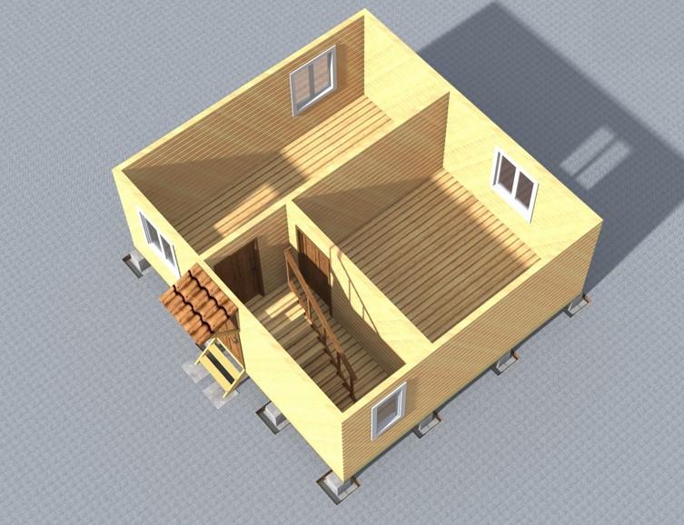 Объем внутренней организации дома 6х6