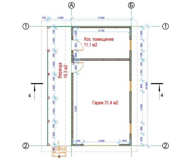 План типового проекта гаража из панелей