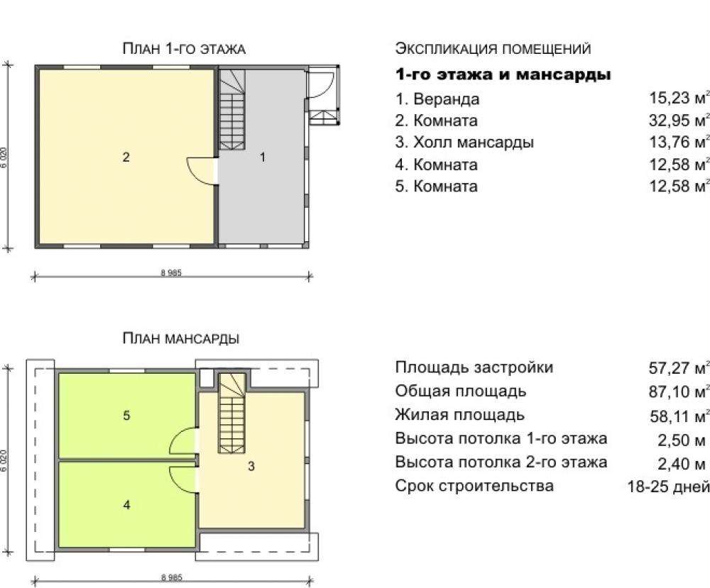Поэтажный план дома с мансардой 6х9