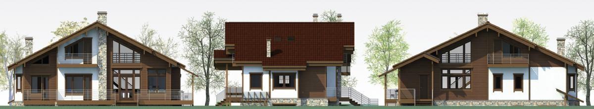 Главный, боковой, заданий фасады каркасного дома