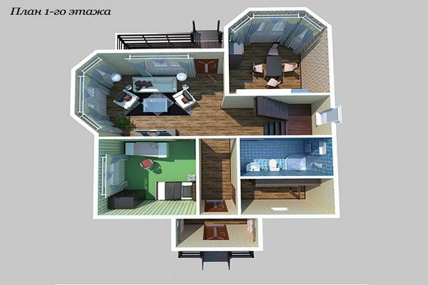Визуализация плана 1-го этажа
