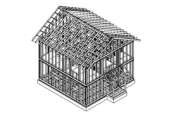 Схема каркасного дома из дерева