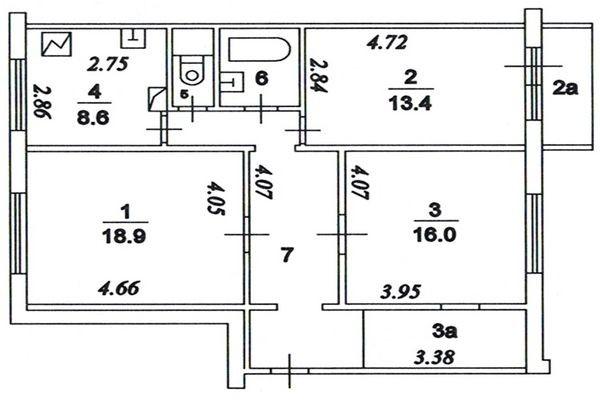 План помещений с указанием необходимых размеров