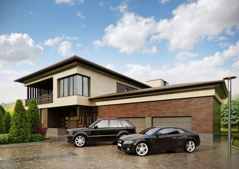 Дом с цокольным этажом и встроенными гаражами