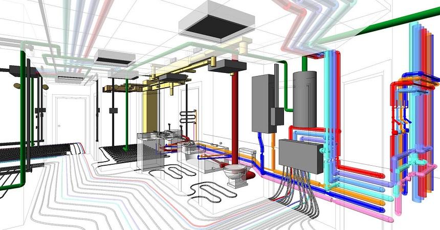 Схема систем канализации, электро- и водоснабжения в каркасном доме