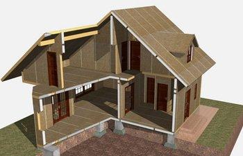 Двухэтажный дом в разрезе
