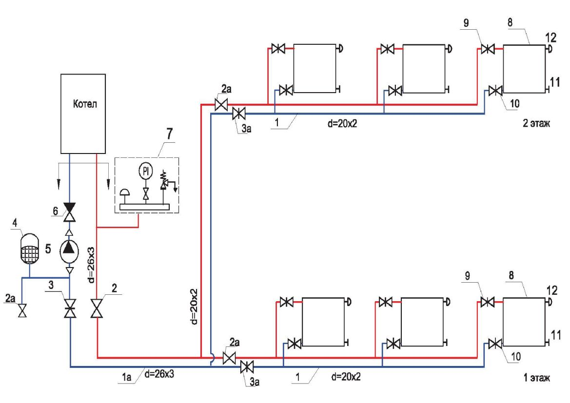 Схема двухтрубная система отопления частного дома