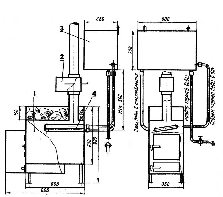Схема отопления от печи с контуром