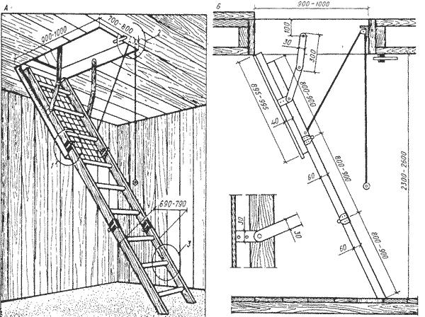 Чертёж складной лестницы на чердак