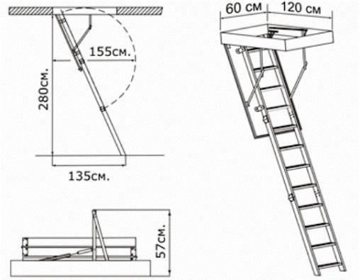 Схема чердачной лестницы