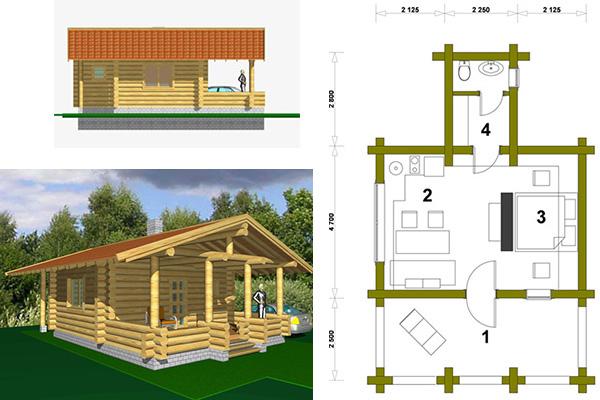Типовой проект дома из бревна с террасой