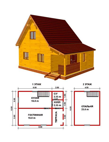 План деревянного дома 8*6