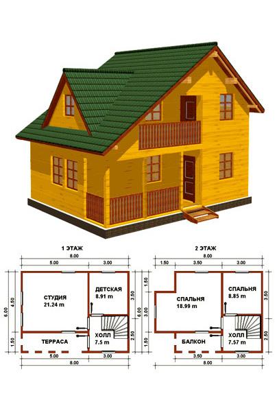 План деревянного дома с террасой