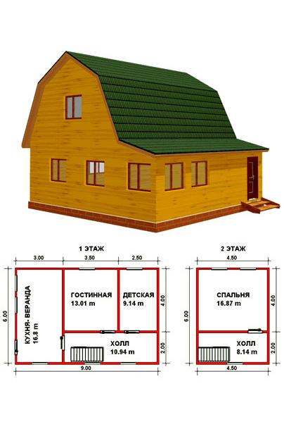 План деревянного дома с мансардой