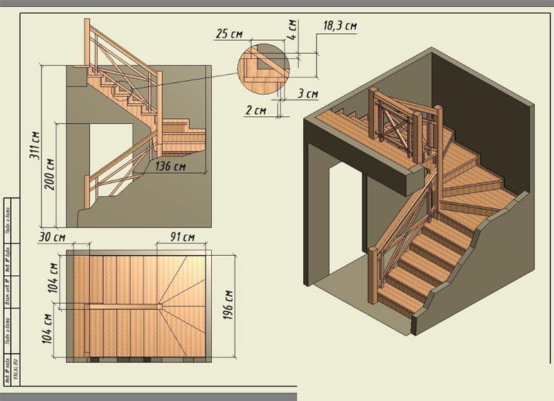Лестницу с забежными ступенями