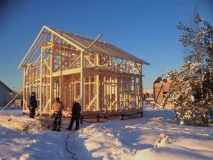 Каркас для дома строим зимой